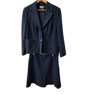 Petite Vintage Fitted Blazer Skirt Suit 2PC Navy Blue Ribbon Trim Jessica